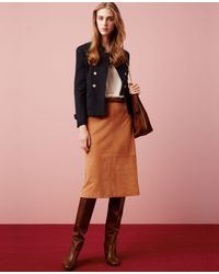 Ann Taylor | Brown Suede Midi Skirt | Lyst