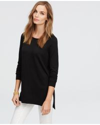 Ann Taylor | Black Boatneck Tunic Sweater | Lyst