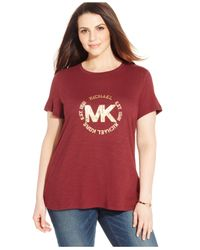 Michael Kors | Purple Michael Plus Size Metallic Logo Tee | Lyst