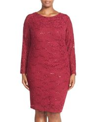 Marina - Red Side Pleat Stretch Lace Sheath Dress - Lyst