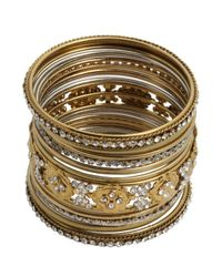 Chamak by Priya Kakkar | Metallic Set Of 17 - Gold And Crystal Bangles | Lyst
