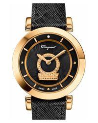 Ferragamo - Black 'minuetto' Leather Strap Watch for Men - Lyst
