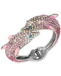 Betsey Johnson | Pink Silver-tone Pavé Dolphin Hinged Bangle Bracelet | Lyst