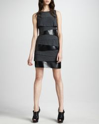 Laundry by Shelli Segal - Gray Tiered Jersey Dress 6 - Lyst