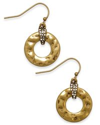 Lauren by Ralph Lauren - Metallic Gold-Tone Crystal Hammered Round Drop Earrings - Lyst