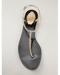 Rene Caovilla | Metallic Embellished T-Bar Sandals | Lyst