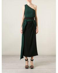 Marni - Green One-Shoulder Draped Dress - Lyst