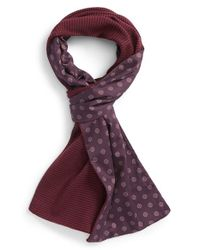 Ted Baker - Purple 'Mondee' Stripe Merino Wool & Cotton Scarf for Men - Lyst