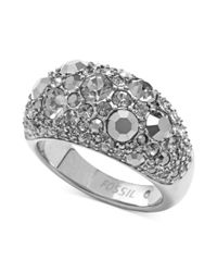Fossil | Metallic Silvertone Crystal Pave Dome Ring | Lyst