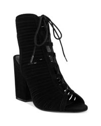 MIA | Black Shay Lace Up Booties | Lyst