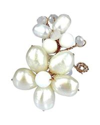 Aeravida | Metallic Butterfly And Floral Connections Freshwater White Pearl Ring | Lyst