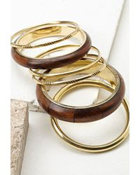 Forever 21 - Metallic Faux Wood Bangles Set You've Been Added To The Waitlist - Lyst