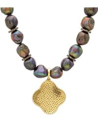 Carole Shashona - Black Tahitian Pearl Diamond Noir Lotus Pendant Necklace - Lyst