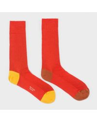 Paul Smith | Men's Red Odd Socks With Contrasting Heel And Toe for Men | Lyst