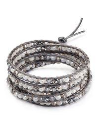 Chan Luu - Gray Five Wrap Beaded Bracelet - Lyst