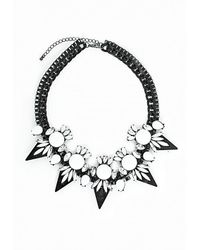 Missguided | Matte Chain White Stone Statement Necklace | Lyst