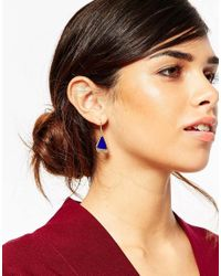 ASOS | Blue Mini Enamel Drop Earrings | Lyst
