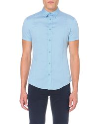 Armani Jeans | Blue Slim-fit Stretch-cotton Shirt for Men | Lyst