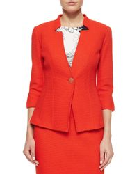 St. John - Multicolor Textural Knit Three-quarter Sleeve Jacket - Lyst