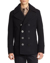 Burberry | Blue Eckford Wool & Cashmere Peacoat for Men | Lyst