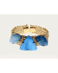 Sabrina Dehoff | Blue Golden Double Tape Bracelet With Pearly Stones | Lyst