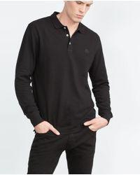 Zara | Black Piqué Polo Shirt for Men | Lyst