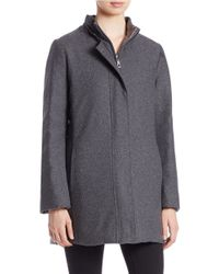 Fleurette - Gray Silver Fox Fur-trimmed Walker Coat - Lyst