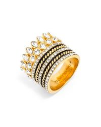 BaubleBar | Metallic 'charlotte' Ring Stack - Clear/ Gold | Lyst