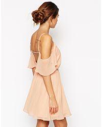 ASOS | Green Cold Shoulder Flutter Sleeve Skater Dress | Lyst
