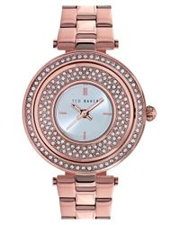 Ted Baker | Metallic Crystal Dial Watch | Lyst