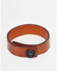 DIESEL - Orange Bracelet In Leather for Men - Lyst