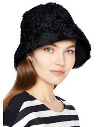 Kate Spade | Black Gathered Bow Knit Beanie | Lyst