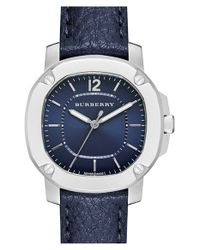 Burberry | Blue Leather Strap Watch | Lyst
