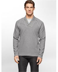 Calvin Klein | Gray White Label Shawl Collar Sweater | Lyst