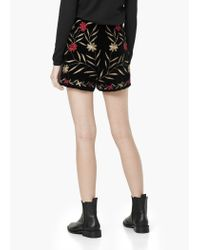 Mango - Black Flowers Velvet Short - Lyst