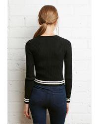 Forever 21 - Black Varsity-stripe Ribbed Sweater - Lyst