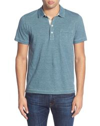 Billy Reid | Blue 'pensacola' Mini Stripe Trim Fit Jersey Polo for Men | Lyst
