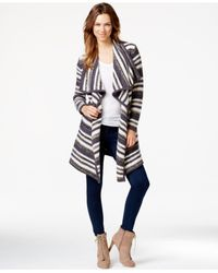 Kensie | White Striped Asymmetrical Cardigan | Lyst