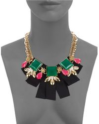 Trina Turk | Metallic Bright Stone And Ribbon Bib Necklace | Lyst