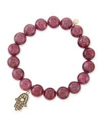 Sydney Evan - Purple 10Mm Ruby Beaded Bracelet With Diamond Hamsa - Lyst