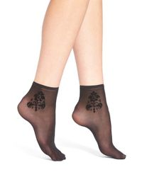 Hue | Black Flocked Brocade Sheer Ankle Sock | Lyst