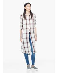 Mango - White Check Shirt - Lyst