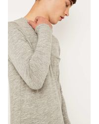 SELECTED | Gray Andro Split Neck Long Sleeve Tee for Men | Lyst