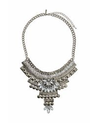 TOPSHOP - Metallic Stud And Crystal Drop Necklace - Lyst