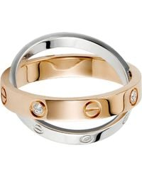 Cartier | Love 18Ct Pink-Gold, White-Gold And Diamond Ring | Lyst