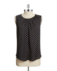 Jones New York | Black Petite Polka Dot Blouse | Lyst