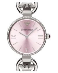 Emporio Armani | Metallic Crystal Bezel Lizard Strap Watch | Lyst