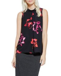 Vince Camuto | Black Floral Mock Neck Sleeveless Blouse | Lyst