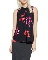 Vince Camuto - Black Floral Mock Neck Sleeveless Blouse - Lyst
