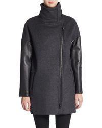 Mackage | Gray Rhoda Leather-sleeve Coat | Lyst